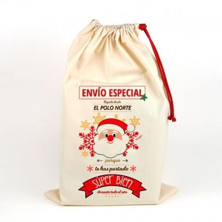 Saco navideño para regalos Papa Noel
