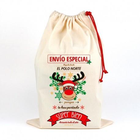 Saco navideño para regalos Reno